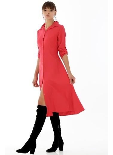Emjey Beli Kuşaklı Uzun Gömlek Elbise Kırmızı